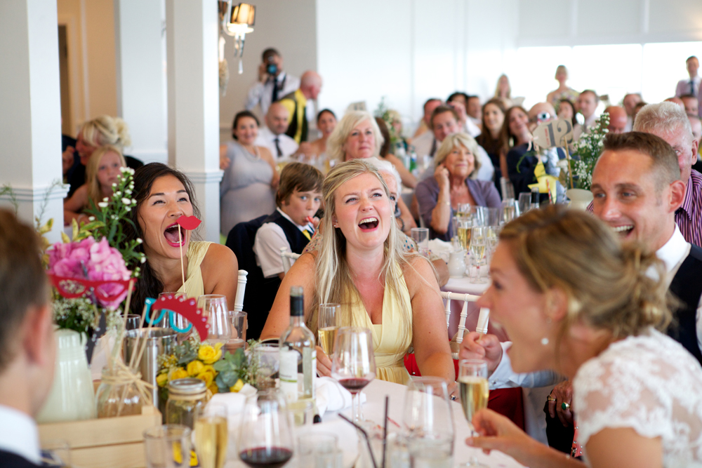 laughing in wedding speeches