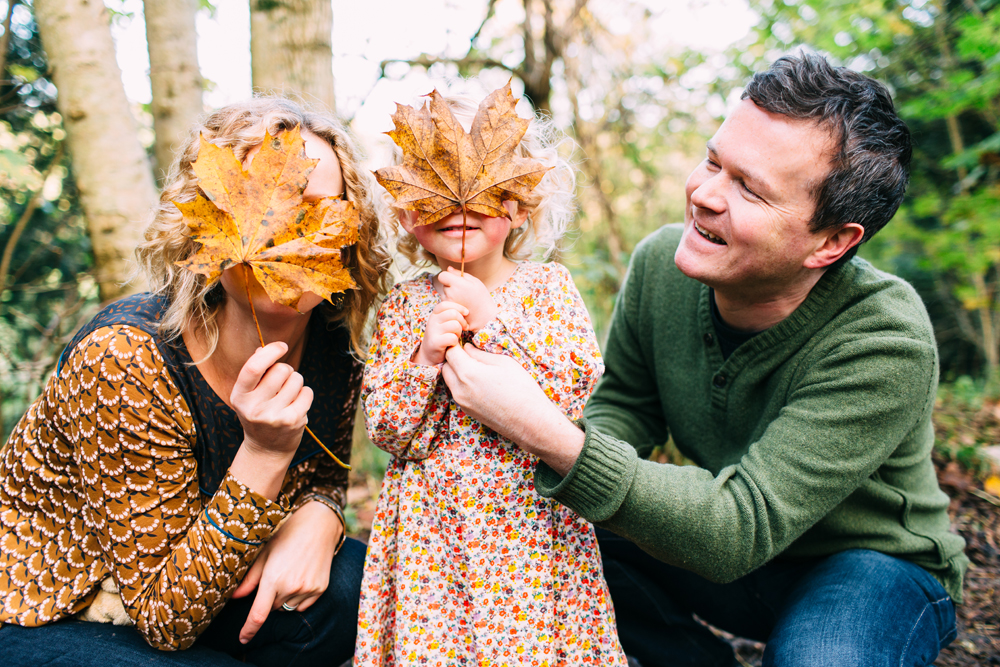 Stanmer Park portrait shoot- leaves covering faces