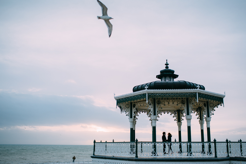 brighton bandstand at sunset for engagement shoot