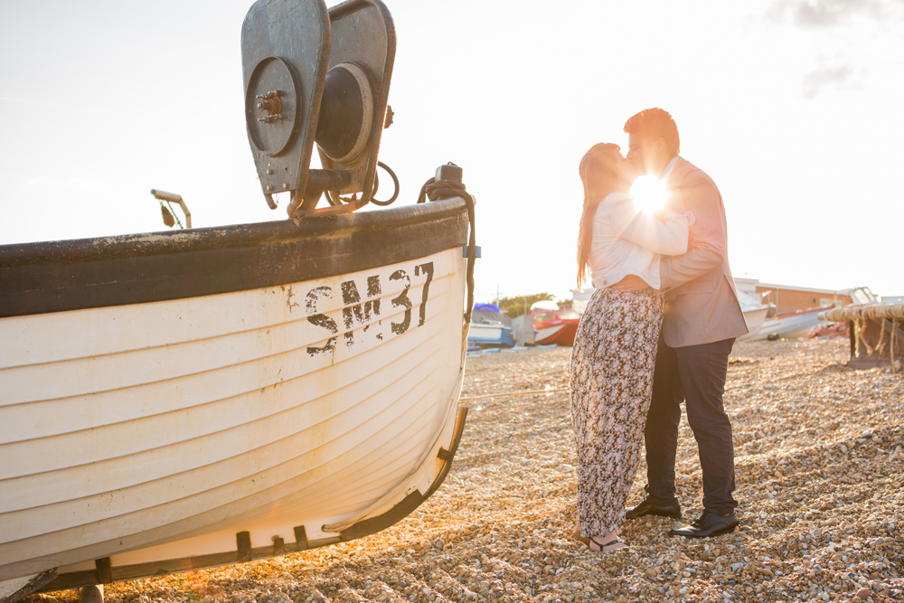 Eastbourne Beach Engagement Shoot with Boats
