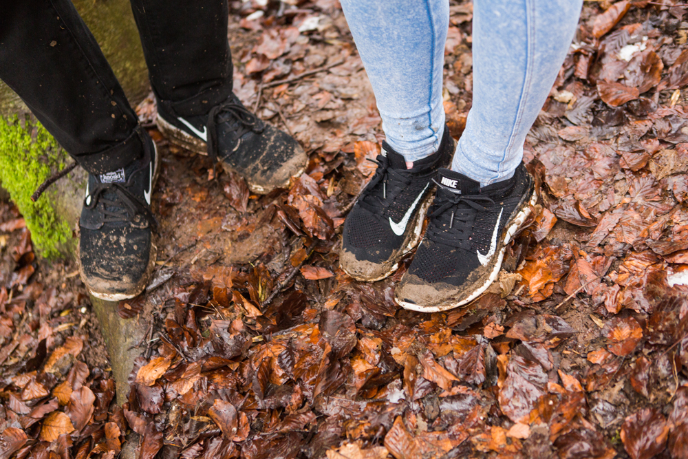 Muddy shoes in Stanmer Park Brighton