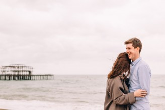 Couple on Brighton Beach for their Engagement Shoot