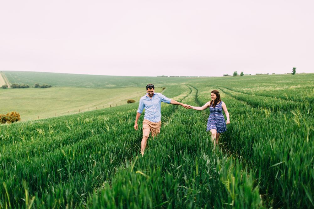 Sussex Countryside Engagement Shoot Walking Through Fields