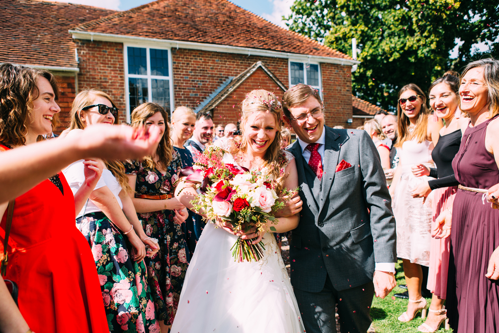 Confetti Throwing at Unitarian Church Wedding Ditchling