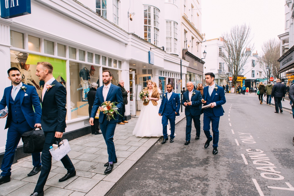 Walking to Blanch House Brighton Wedding