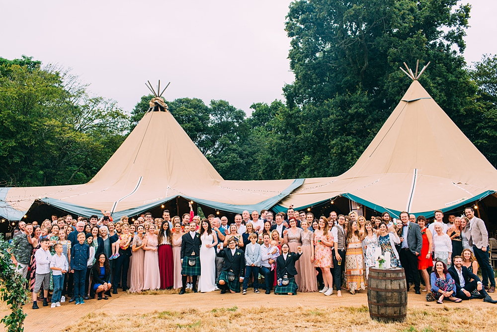 Sussex Tipi Wedding Group Photo